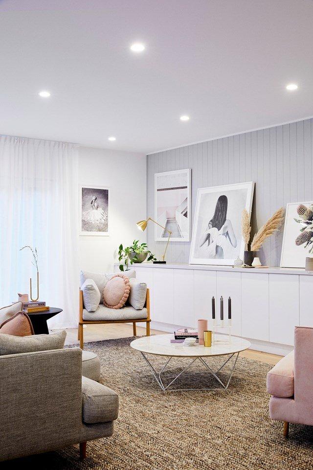 blush pink, gray and brown Scandinavian living room design