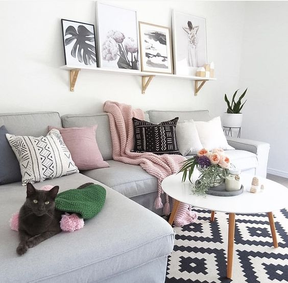 light gray,blush pink, black and white small living room decor