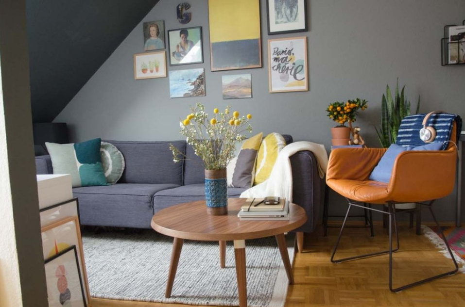 gray brown and yellow small living room design