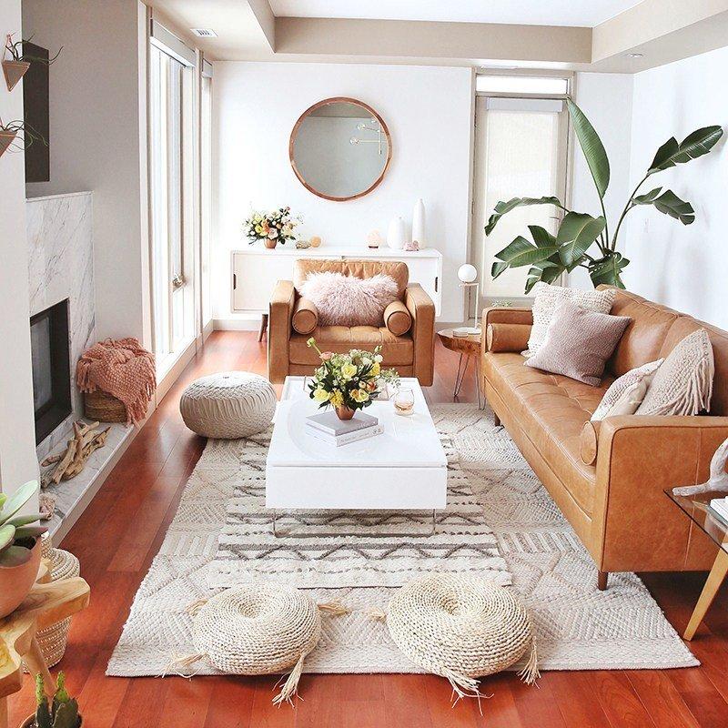 natural boho small living room