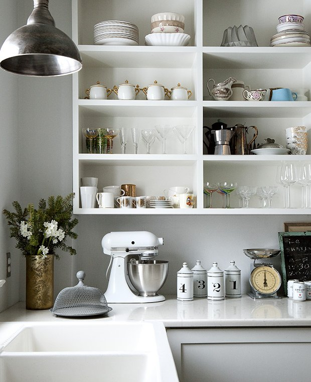 open cabinets Scandinavian kitchen