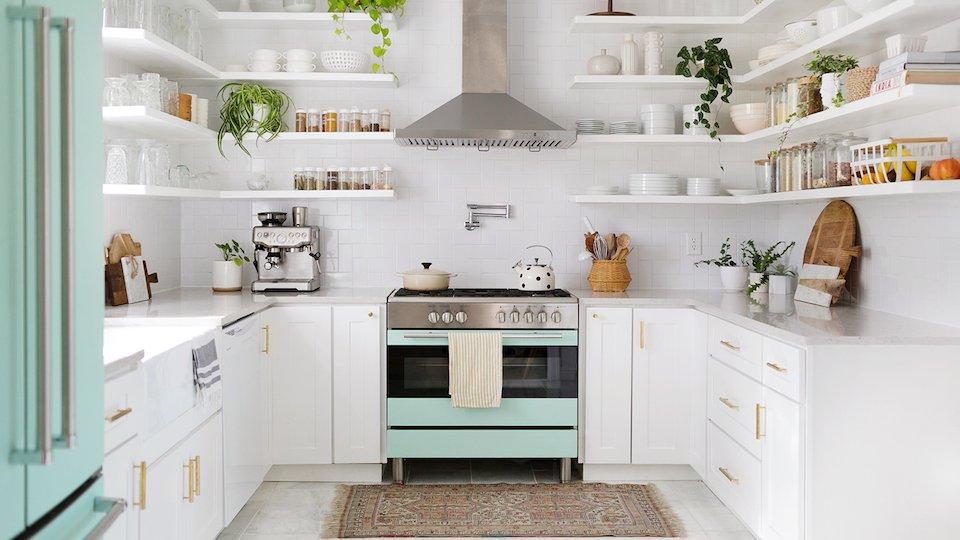 decorated kitchen shelves Scandinavian design