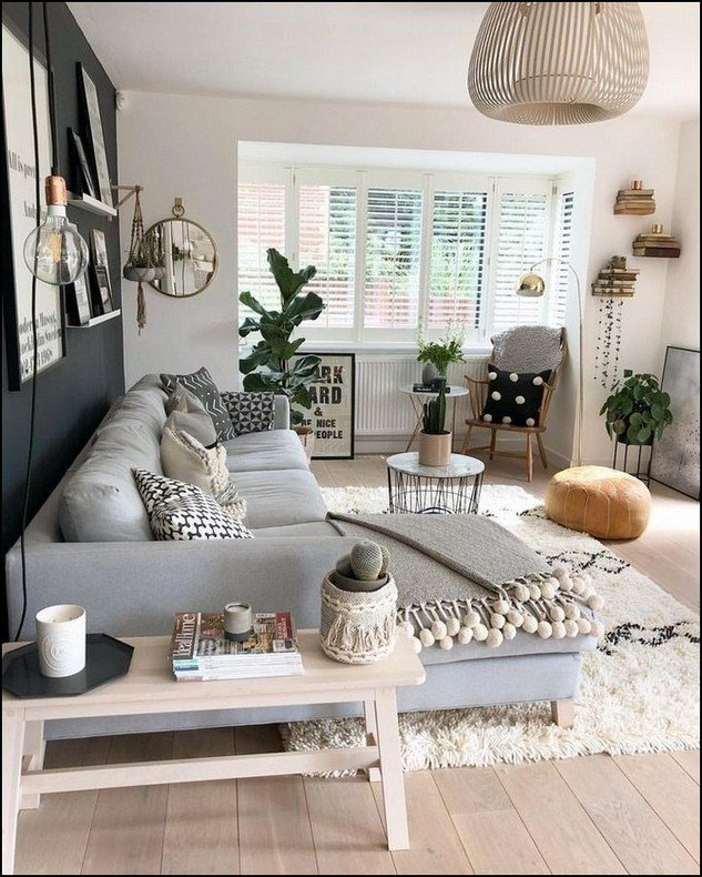 light gray black and white neutral small living room