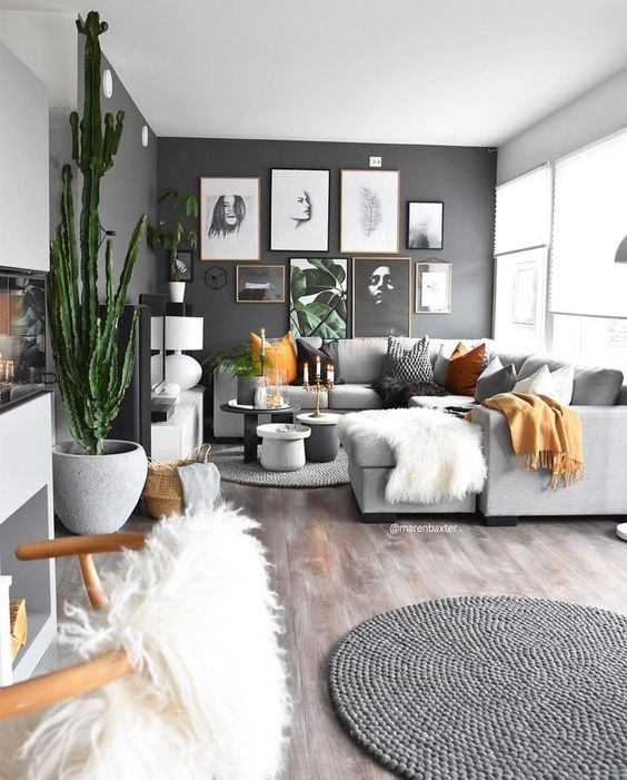 dark gray walls light gray bright small living room