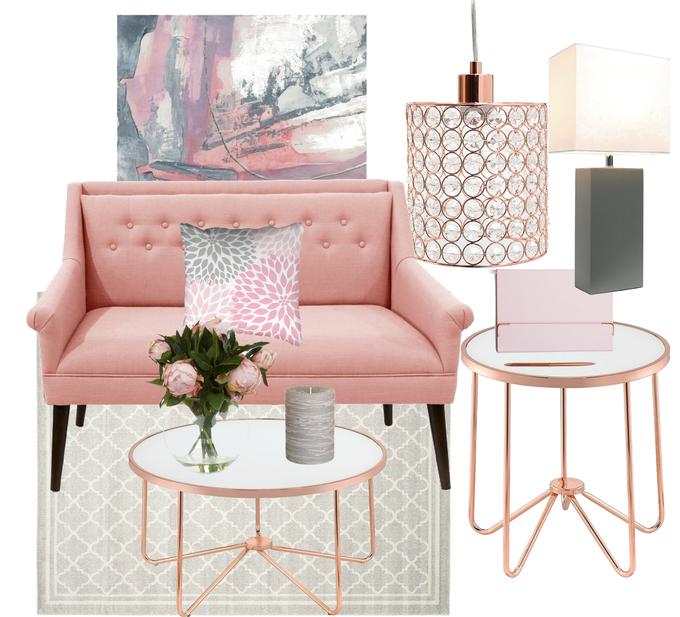 Blush Crush: Blush Pink, Rose Gold & Gray Living Room Mood ...