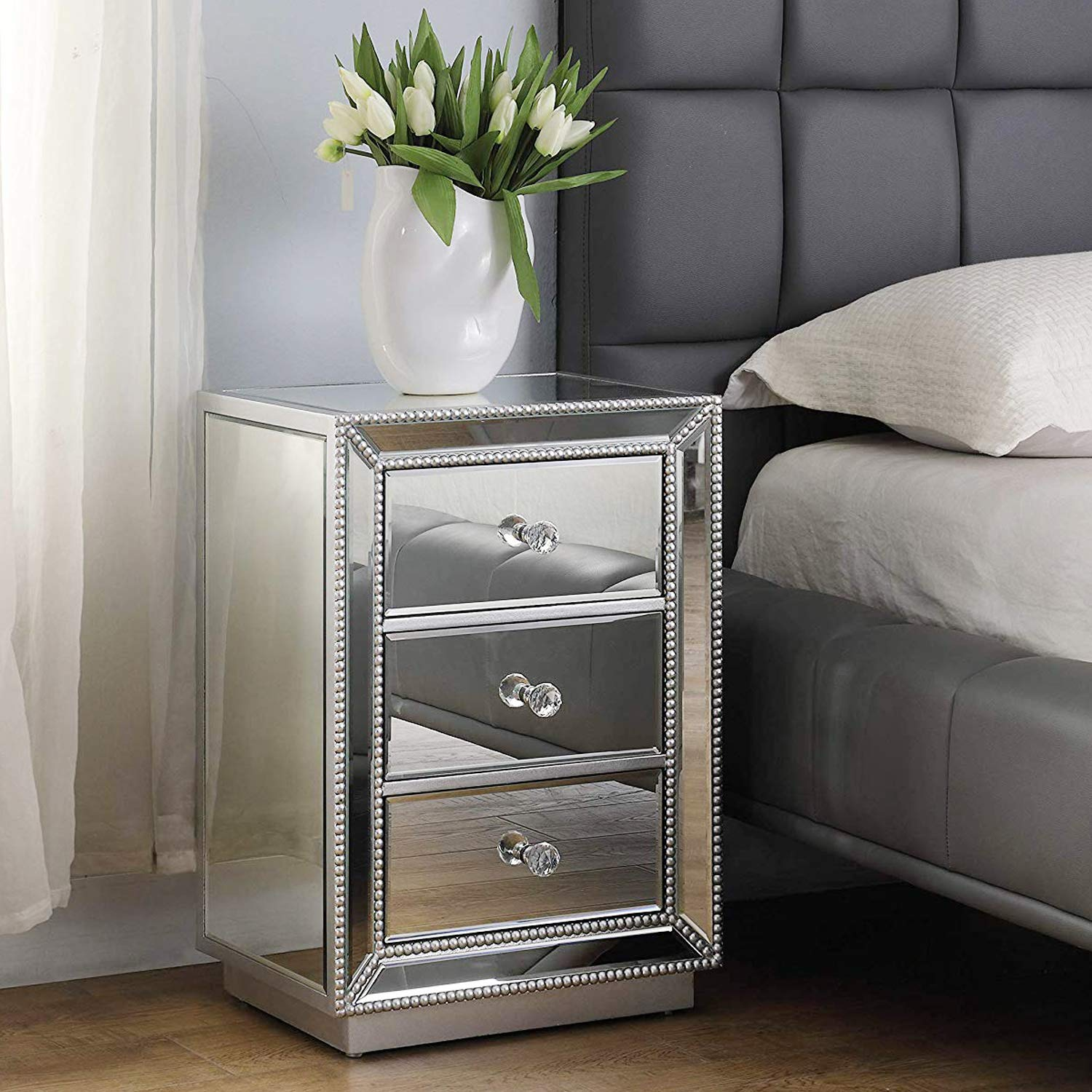 mirrored bedroom nightstand end table
