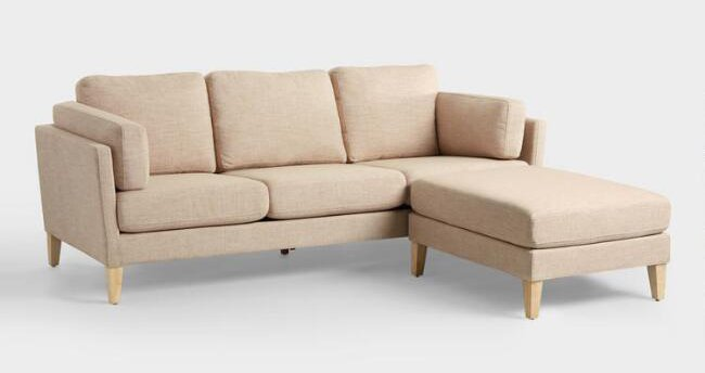 neutral sofa with ottoman for small living rooms