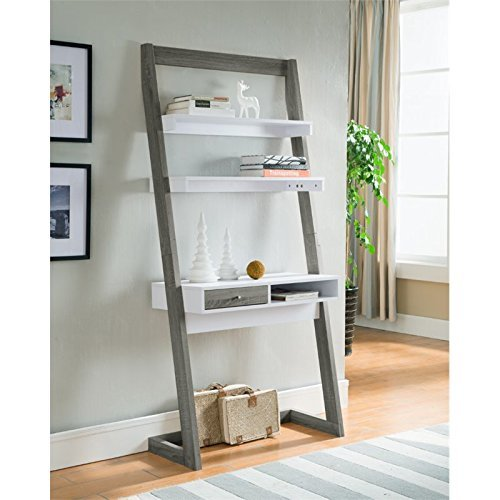 grey ladder desk for creating a home office in a small space