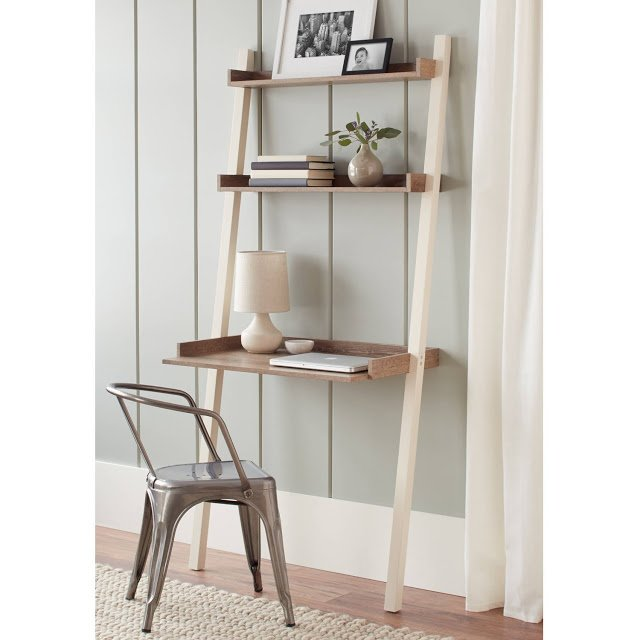 amazon ladder desk used to create a home office in a small space