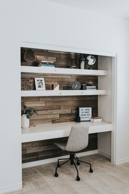 home office in small space rustic closet office