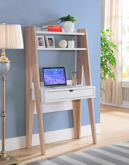 stylish ladder desk to create a home office in small spaces