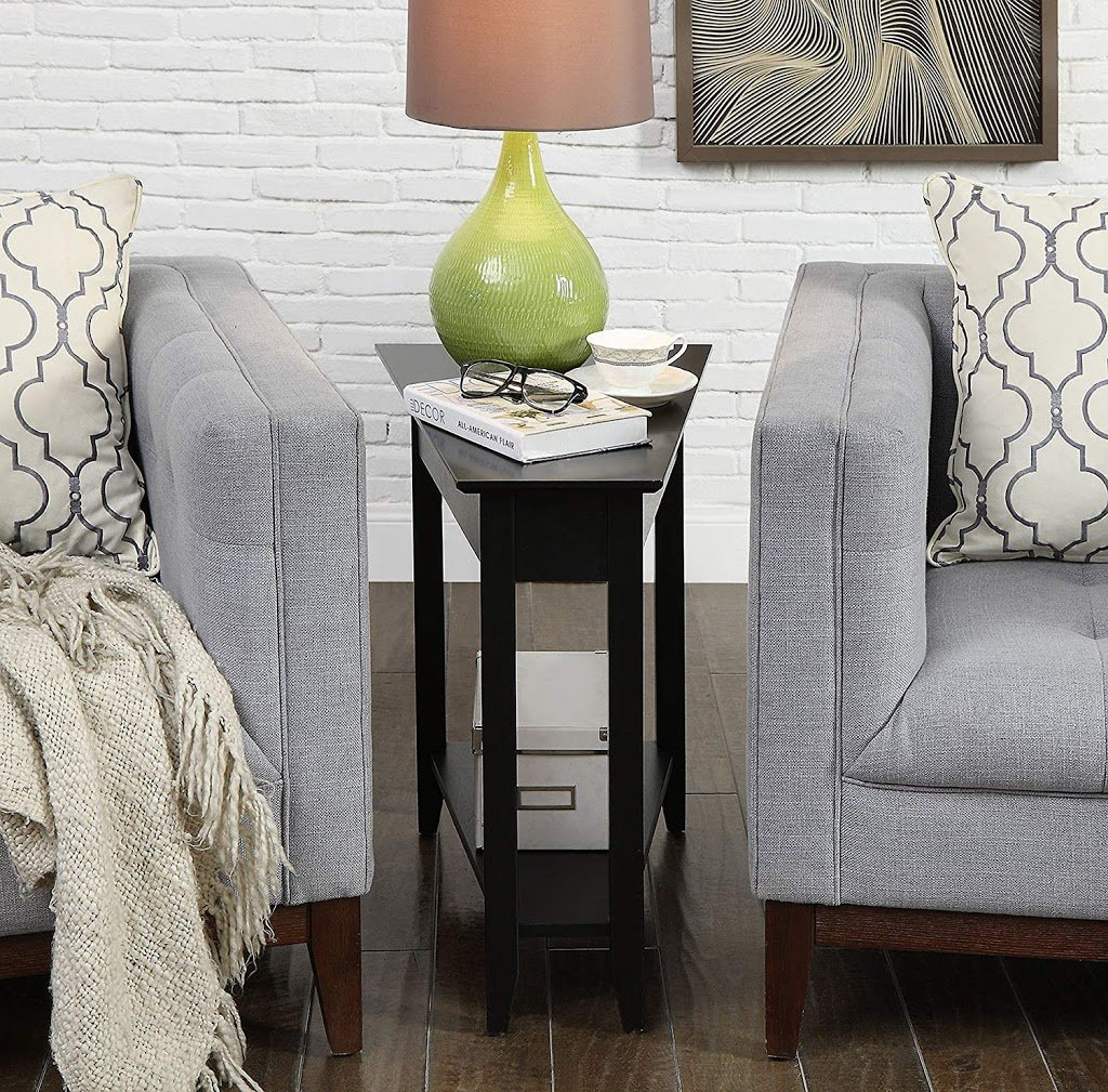 angled end table for small living rooms