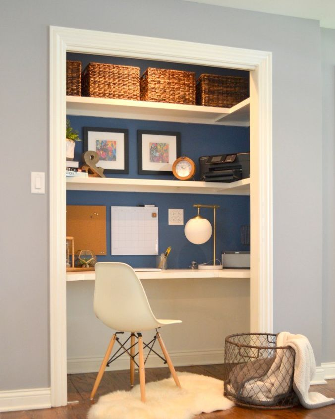 home office in small space using closet