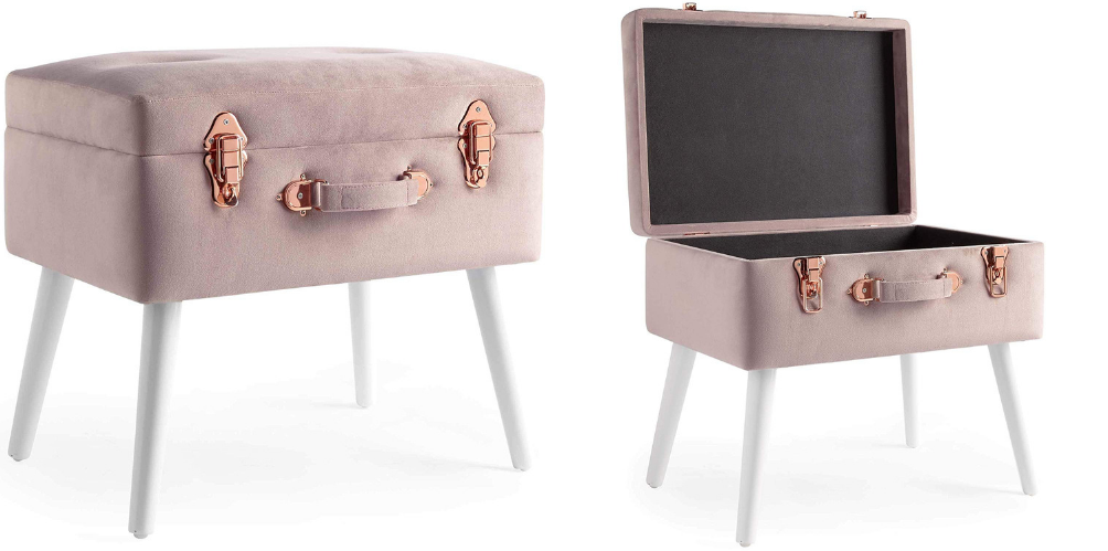 pink and rose gold storage ottoman for small spaces