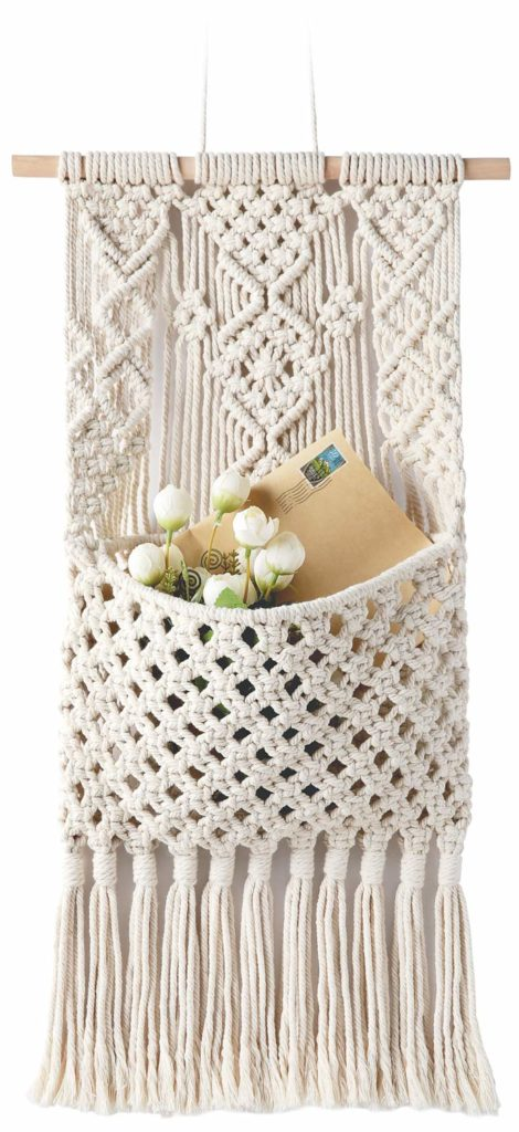boho macrame storage wall decoration