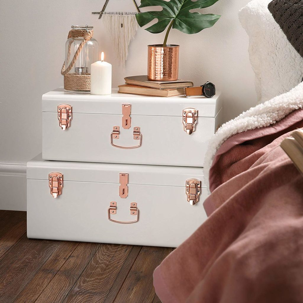 decorative storage white and rose gold storage trunks