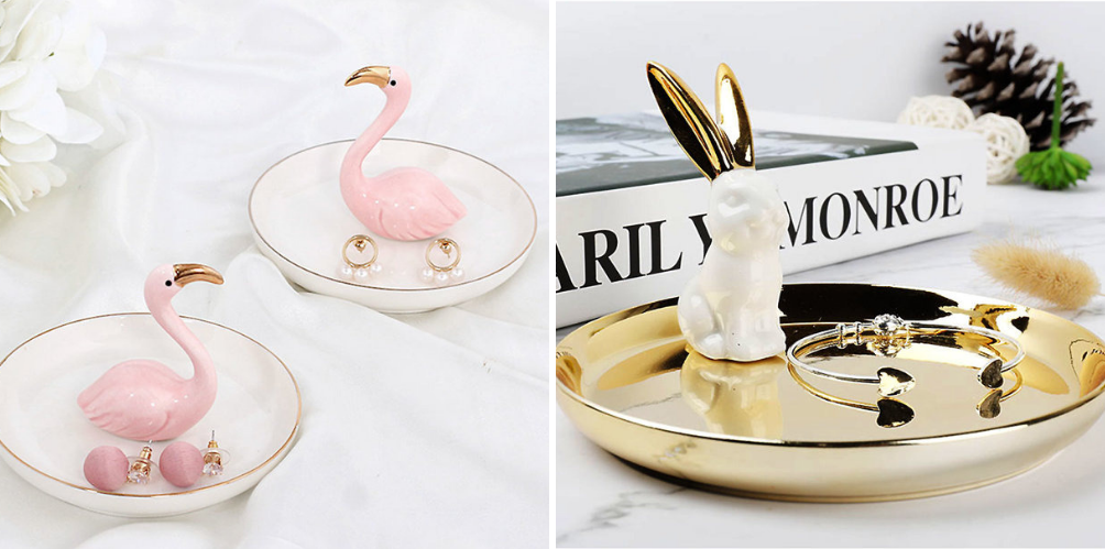 pink and gold animal trinket tray and jewelry organizer
