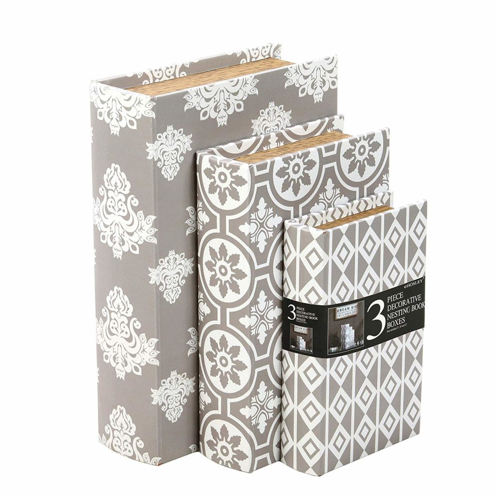 decorative storage Gray and white storage book box