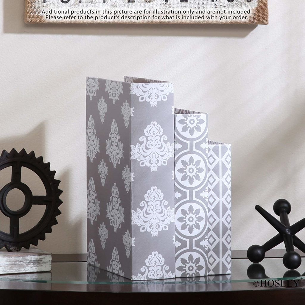 gray and white decorative storage book boxes