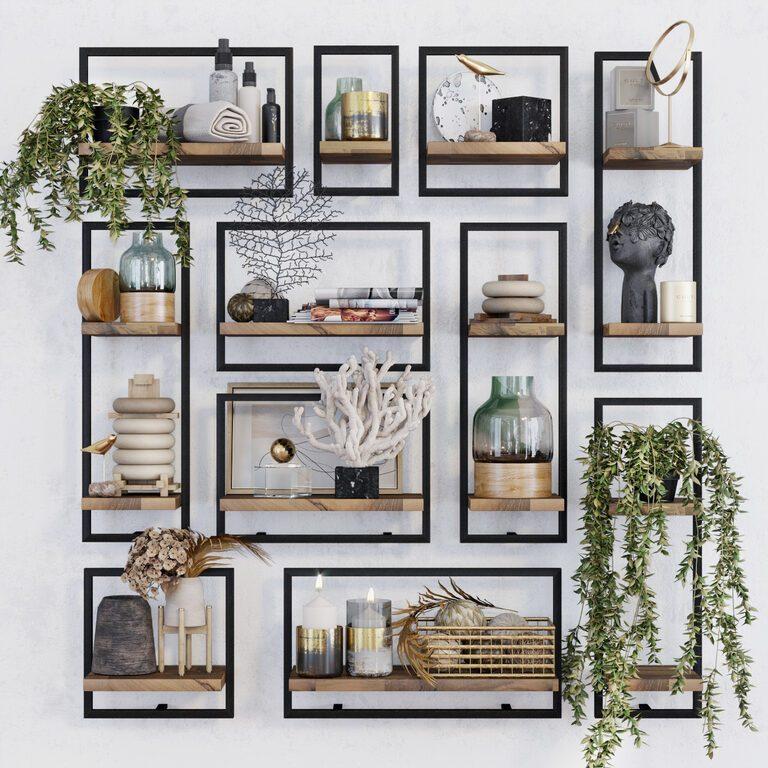 metal and wood modular shelves