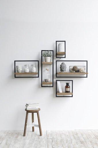 metal and wood modular shelving