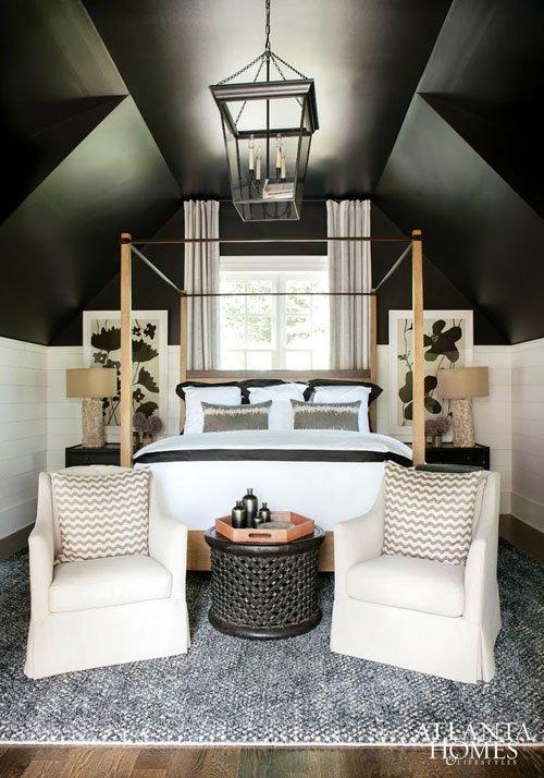Dark ceiling in small bedroom