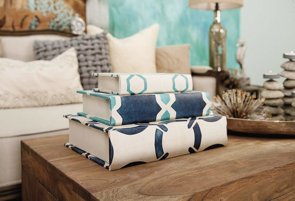 Blue and white decorative storage book boxes from amazon