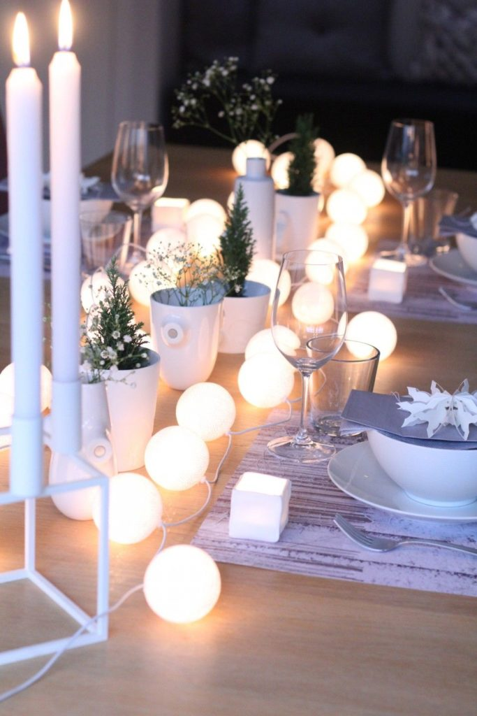 dining table decor using string lights