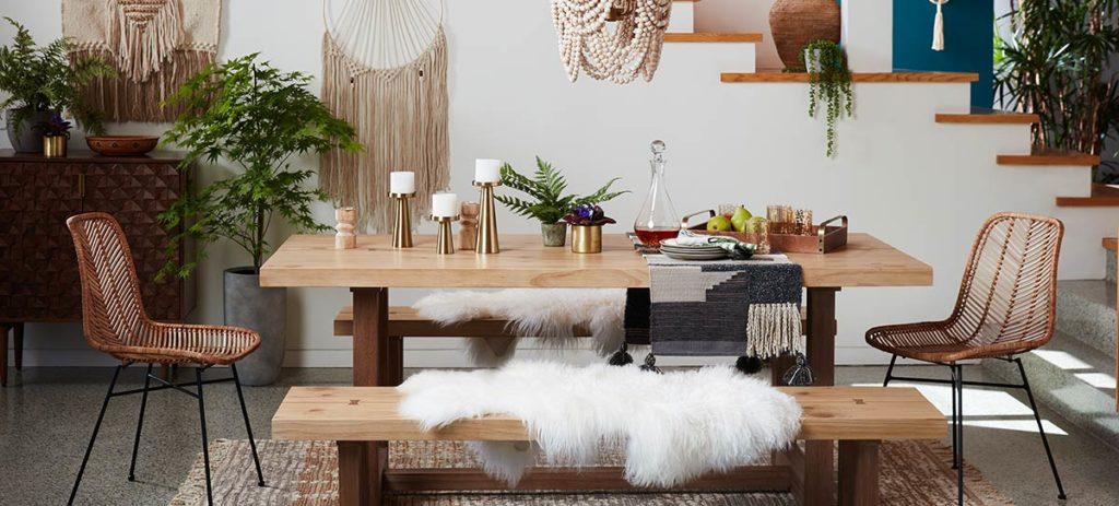 neutral boho dining room decor