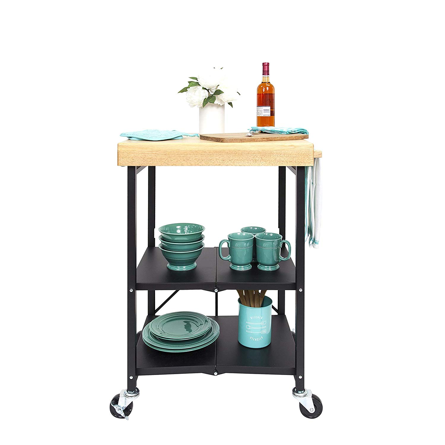 Origami foldable kitchen island storage cart