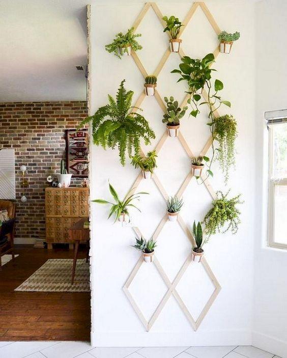 plywood diamond shaped indoor garden