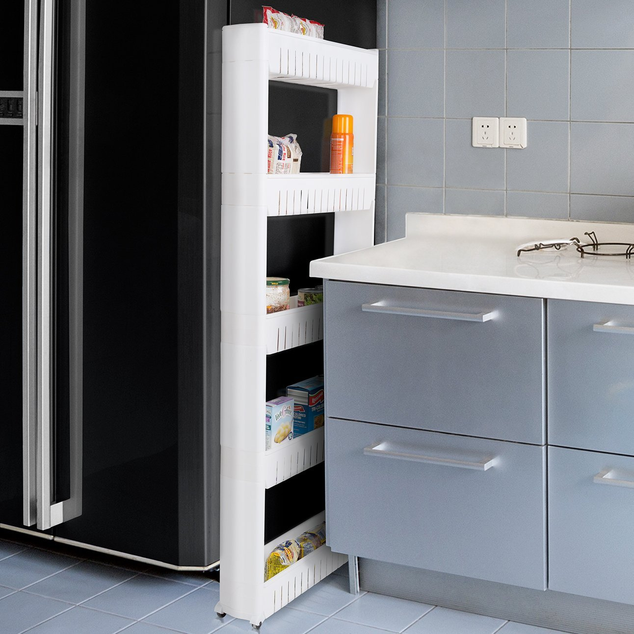 slim slide out pantry shelf for small kitchen