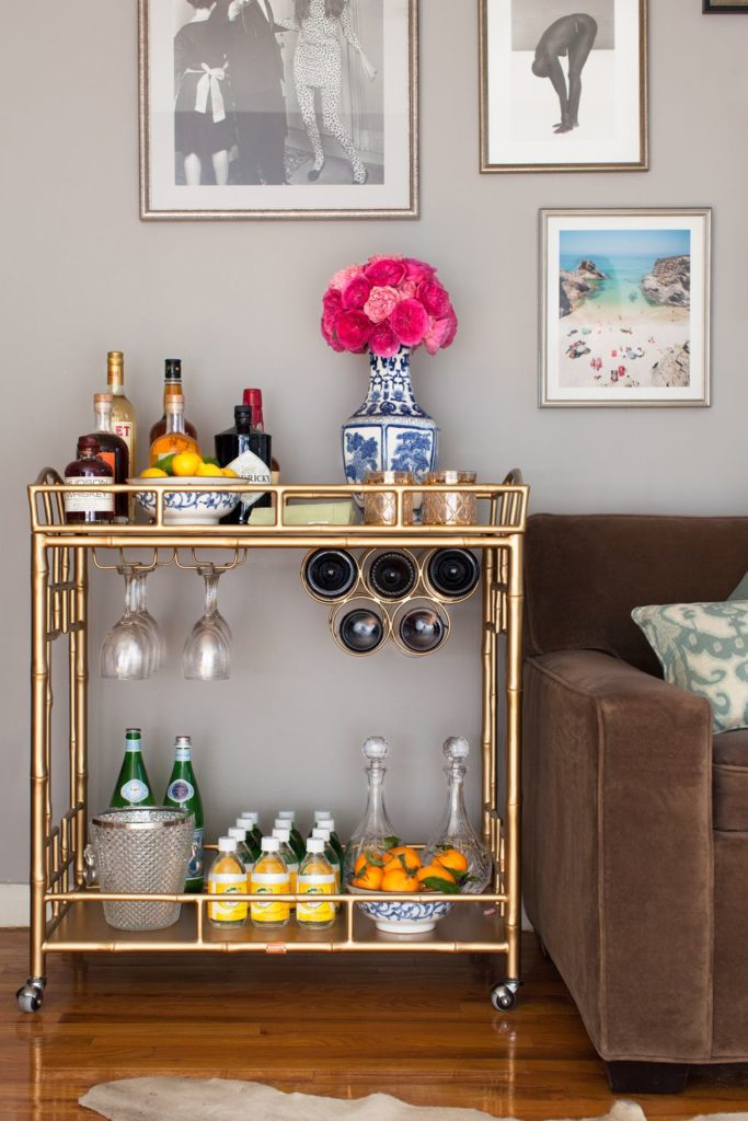 bar cart for entertaining