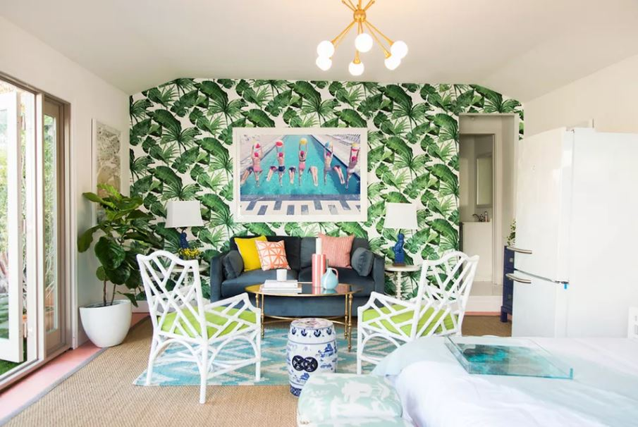 green leaf wallpaper in small room