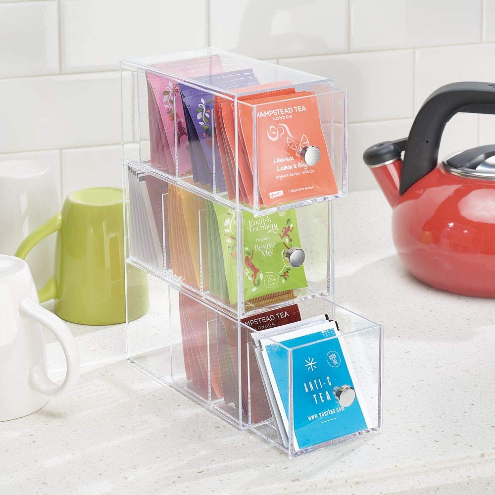 Stackable space saving tea storage for small kitchen