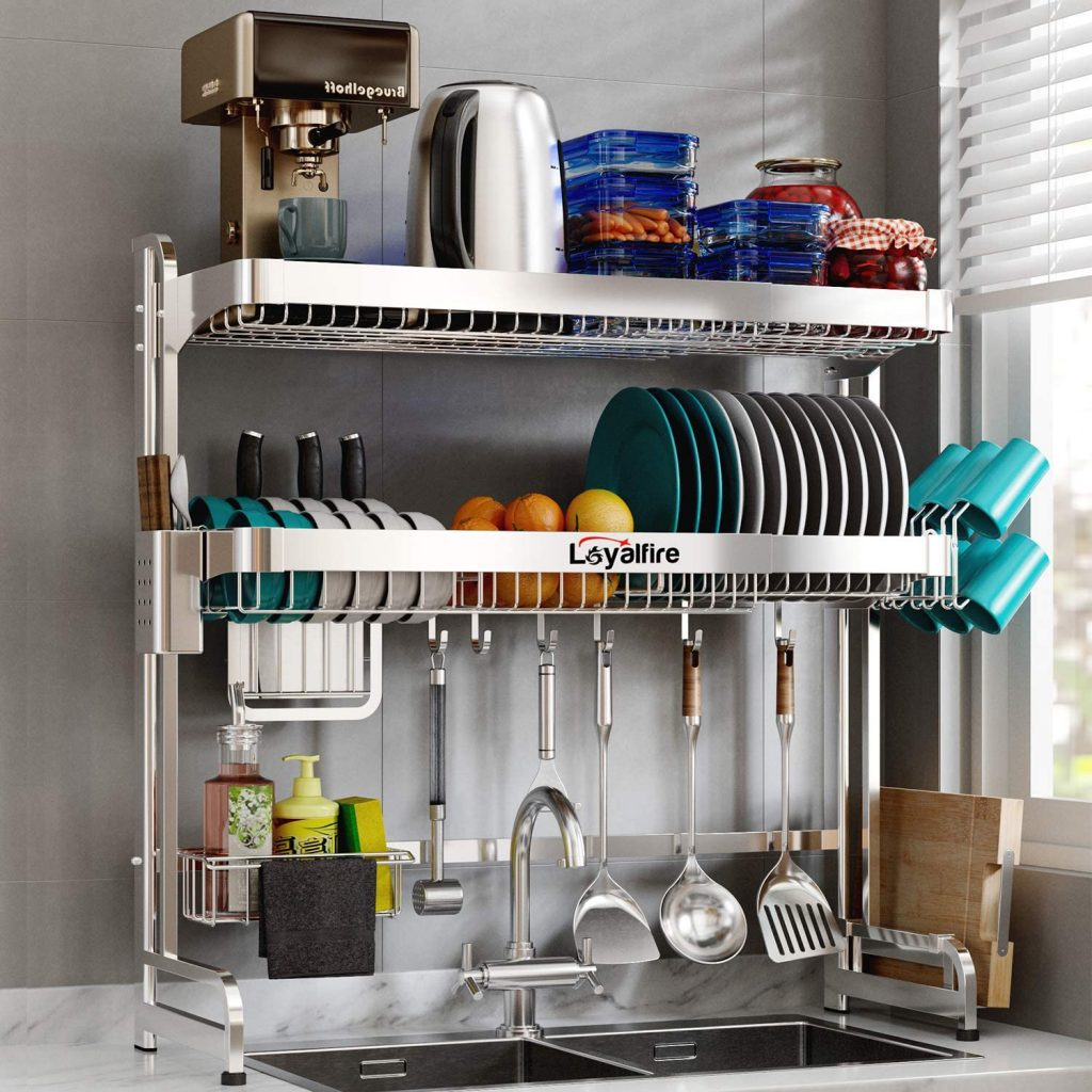 space saving 2 shelf over-the-sink dish drainer rack
