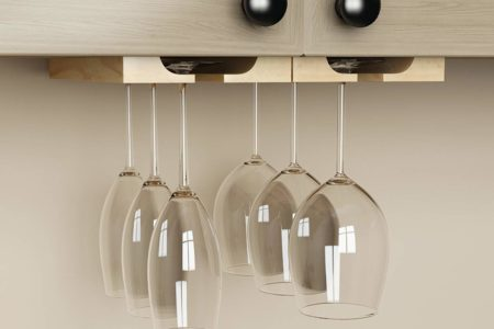 under cabinet hanging wine glass storage rack
