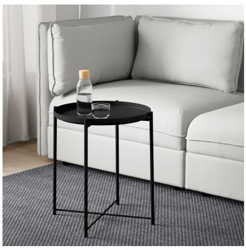 Black Ikea tray table for small spaces new collection 2020