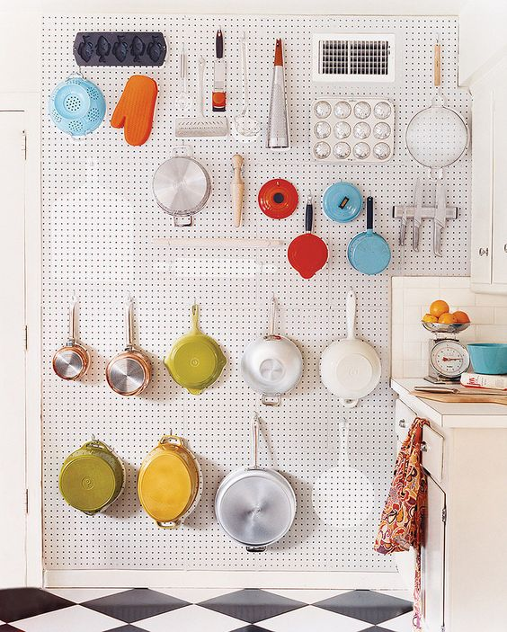 white pegboard ideas for small kitchen