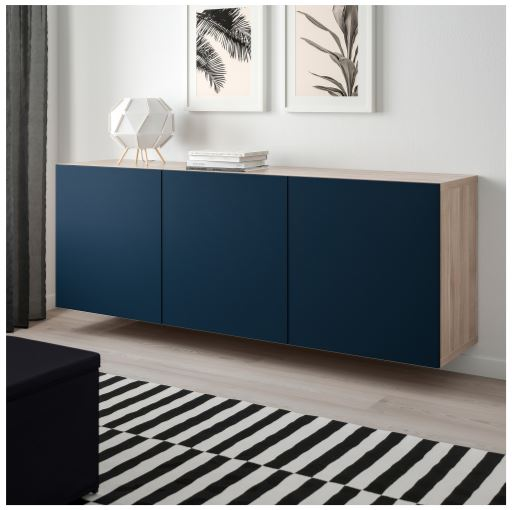 blue and walnut wall-mounted storage cabinet ikea