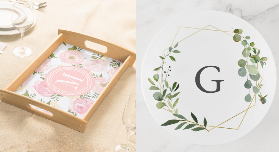affordable  Custom printed Serving trays and trinket trays