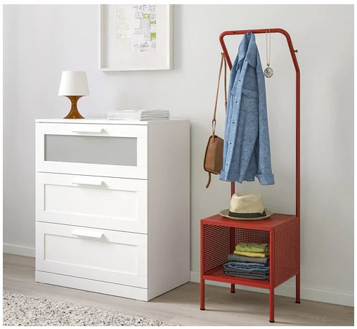 Red Clothing hanger and storage from IKEA 2020 catalog