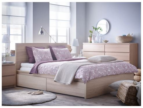 new Ikea natural wood bed frame with storage drawers