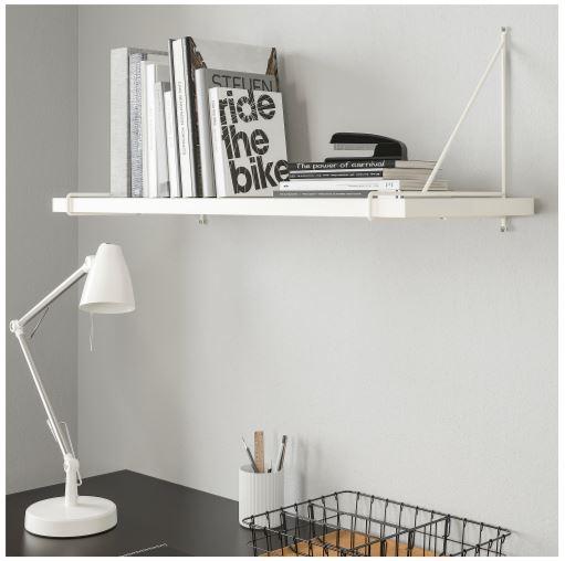 white Ikea Bergshult Minimalist shelf
