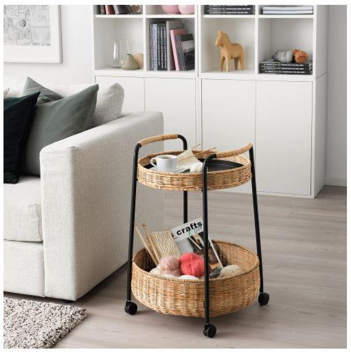Ikea Rattan serving cart with storage