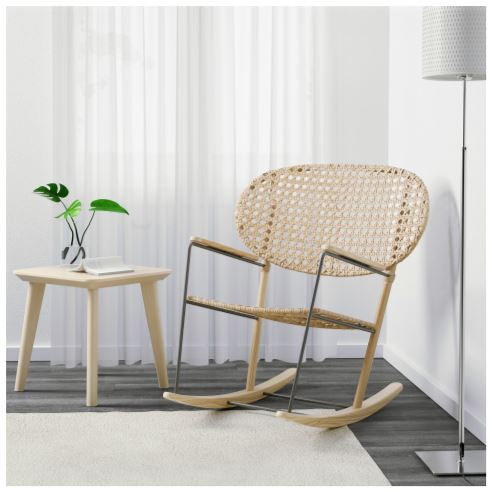 Natural woven rattan rocking chair from IKEA 2020 collection