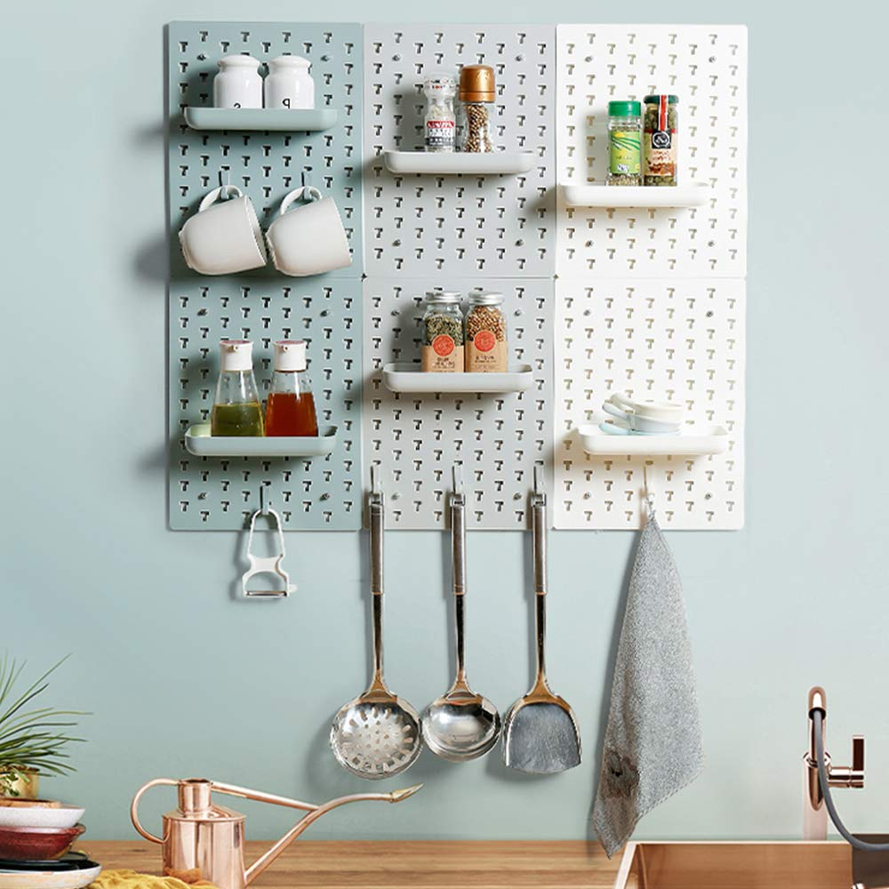 multicolored Gray and white kitchen pegboard