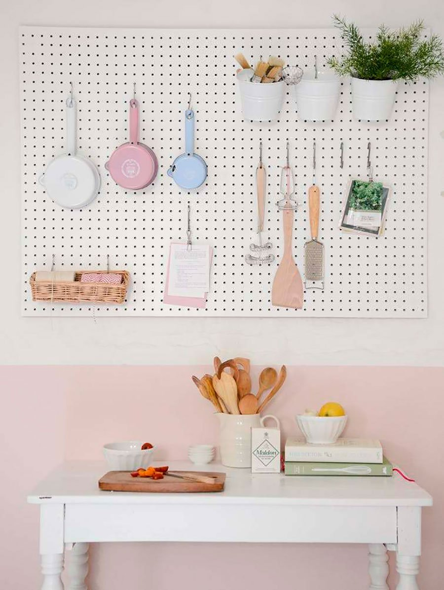 pastel colored kitchen pegboard design