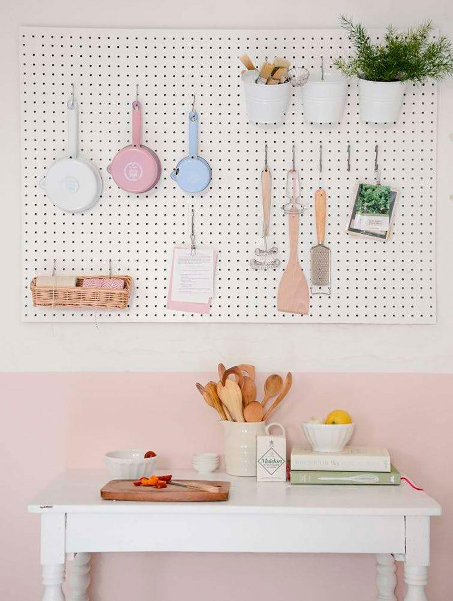 pastel colored kitchen pegboard design