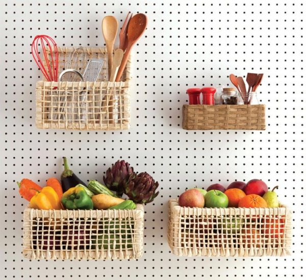 basket shelves on kitchen pegboard